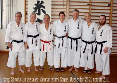 2015-10-25  stage karate shitokai schweiz - yasunari ishimi sensei 10°dan shitokai - dübendorf (zh) - pierre, florence, yasunari ishimi sensei, margot, mario, jean françois et sandro [kcg]