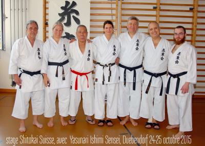 2015-10-25 stage karate shitokai schweiz - yasunari ishimi sensei 10°dan shitokai - dübendorf (zh) - pierre, florence, yasunari ishimi sensei, margot, mario, jean-françois et sandro [kcg]